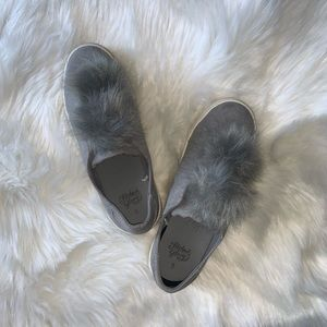 Furry Grey Slip on Shoes